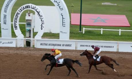 Az-Zubayr, monté par Said Madihi, cheval vainqueur, propriété du Haras Royal Les Sablons, a parcouru en 2:33.52 les 2.400 m de cette épreuve. Ph : MAP