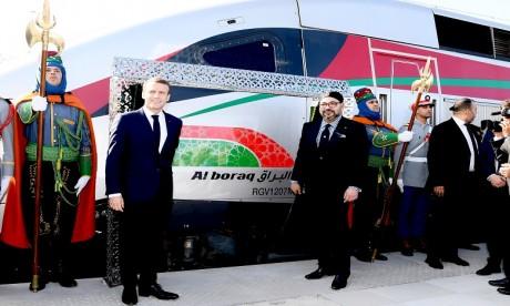 S.M. le Roi et le Président français inaugurent le train à grande vitesse «Al Boraq» reliant Tanger à Casablanca
