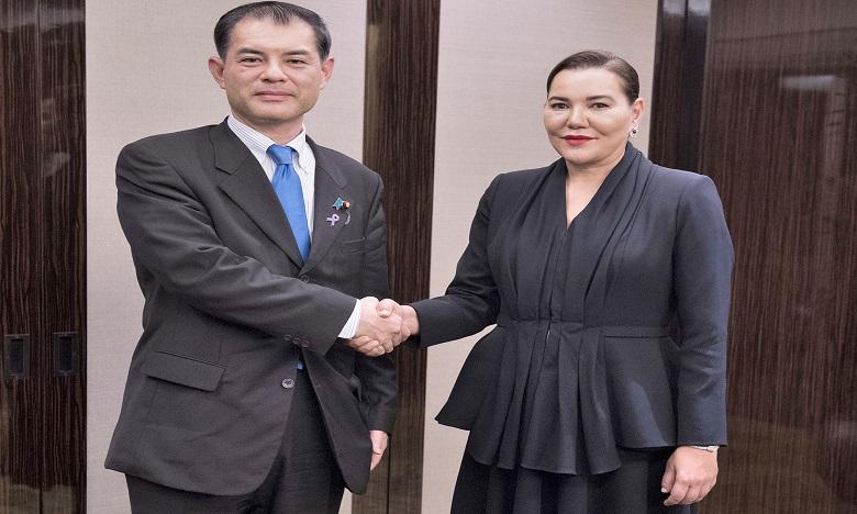 S.A.R. la Princesse Lalla Hasnaa reçoit à Tokyo le ministre japonais de l'Éducation, de la Culture, des Sports, des Sciences et de la Technologie