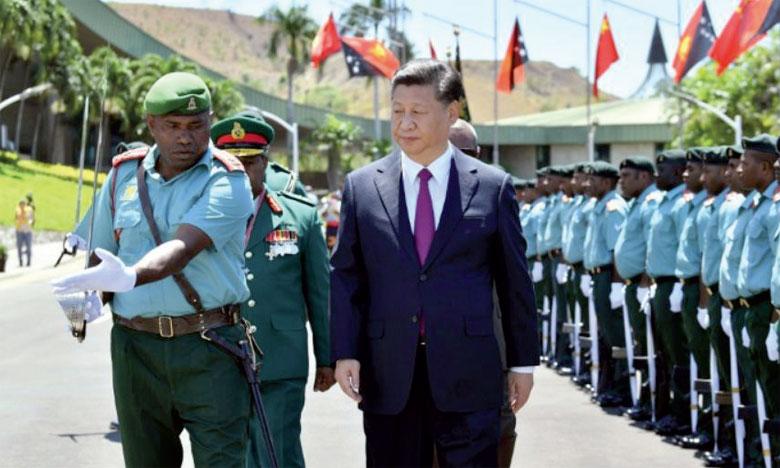 Le Président chinois, Xi Jinping, accueilli à Port Moresby pour le sommet de la Coopération  économique Asie-Pacifique, le 16 novembre 2018.                                                                                              Ph. AFP