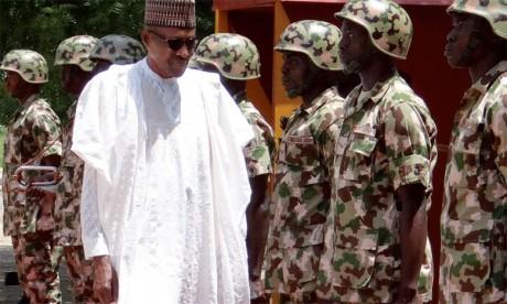 Le Président du Nigeria Muhammadu Buhari aujourd'hui sur le terrain des opérations