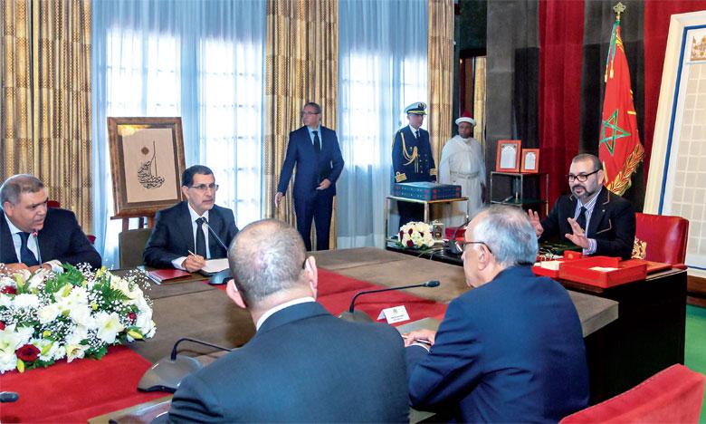 Sa Majesté le Roi Mohammed VI a présidé, le 29 novembre 2018 à Rabat, une séance de travail consacrée au suivi de la question de la qualification et de la modernisation du secteur de la formation professionnelle. Ph. MAP