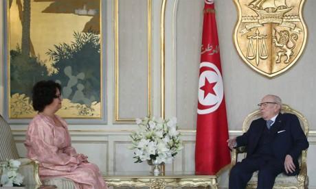 Le Président tunisien salue le leadership  et la clairvoyance de S.M. le Roi Mohammed VI