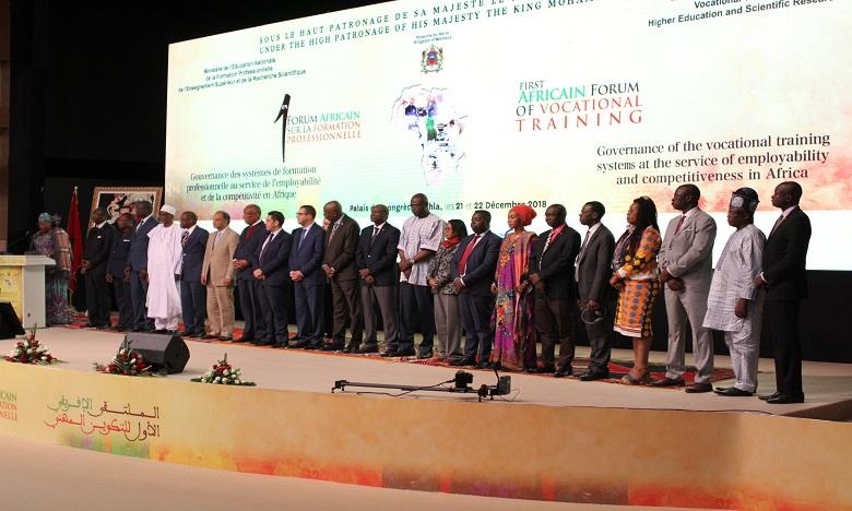 Les ministres et autres représentants des pays et organismes participants ont adopté la «Déclaration de Dakhla pour la promotion et le développement de la formation professionnelle en Afrique». Ph. DR