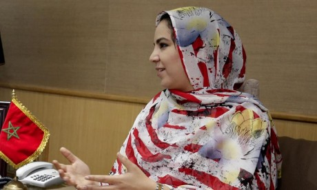 La secrétaire d'Etat chargée du Commerce extérieur, Rkia Derham représente le Maroc à la première conférence de l'économie numérique arabe d'Abou Dhabi. Ph : MAP