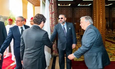 S.M. le Roi reçoit en Audience le S.G. des Nations Unies, M. Antonio Guterres