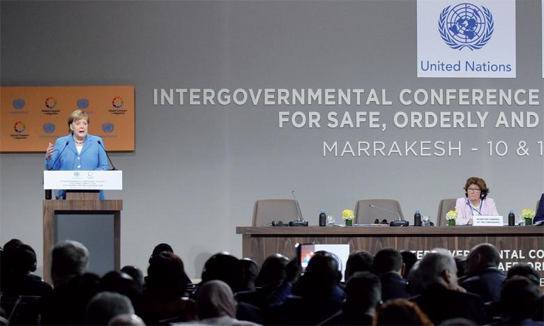 La Chancelière allemande Angela Merkel s'est exprimée lors de la conférence.                                                           Ph. Saouri