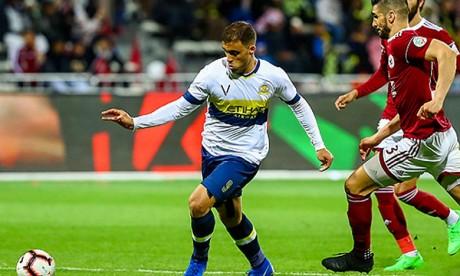 Abderrazak Hamed Allah s'est offert un quadruplé historique avec son club saoudien Al Nasr FC face à Al Fayhae, Le Lion de l'Atlas est devenu le premier joueur dans l'histoire du club à réaliser une telle performance. Ph : EPA