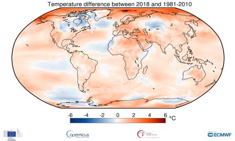 2018, quatrième année la plus chaude dans le monde