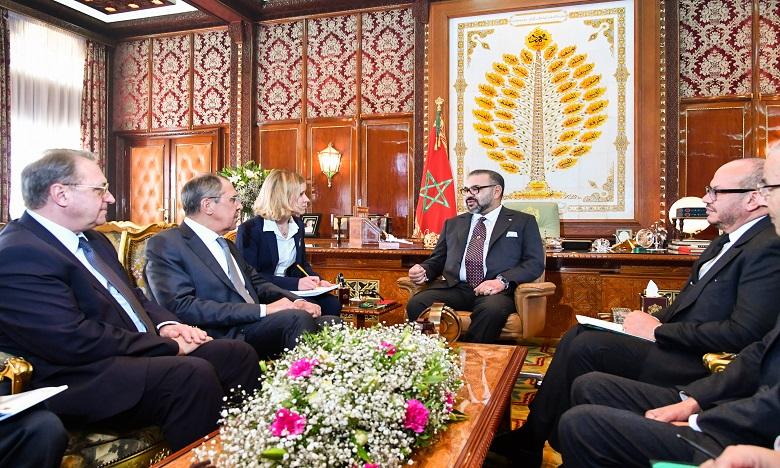 Sa Majesté le Roi Mohammed VI reçoit en audience le ministre des Affaires étrangères de la Fédération de Russie, M. Serguei Lavrov