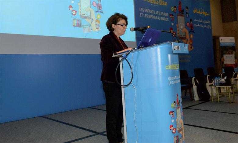 Giovanna Barberis, représentante de l'Unicef au Maroc, lors de la présentation de l'étude «Enfant, jeunes  et médias au Maroc».                                                                                                                                                                   Ph. Saouri