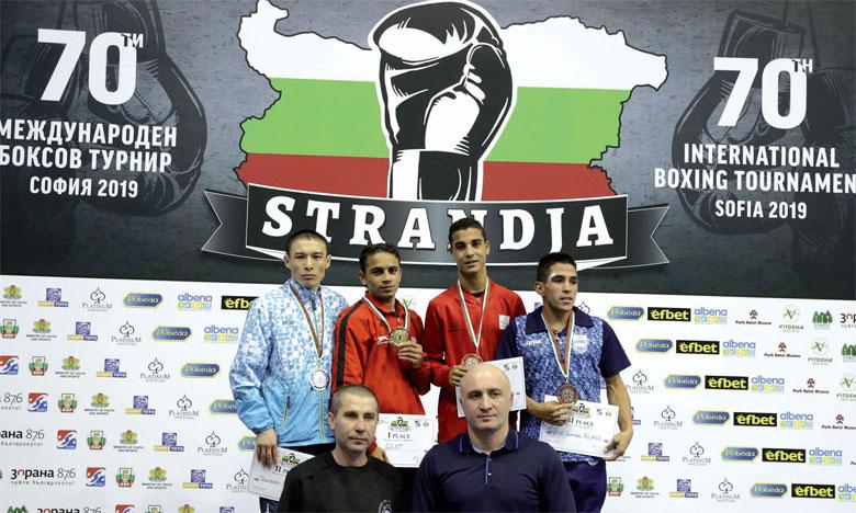 Saïd Moutaraji (deuxième à partir de la droite) a décroché l'unique médaille marocaine  dans la compétition.