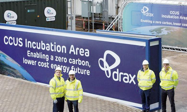 La technologie développée par la firme britannique Drax peut séquestrer plus d'une tonne de CO2 par jour. Ph. Drax