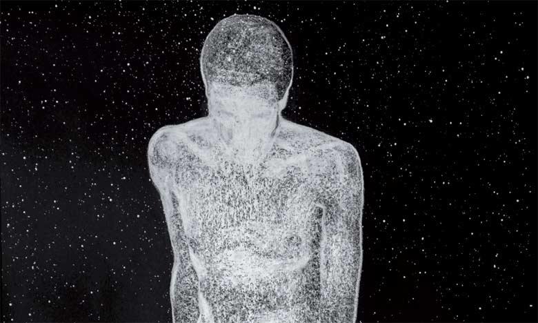Œuvre de Nabil El Makhloufi, Plongeur nacré - crayon blanc sur papier.