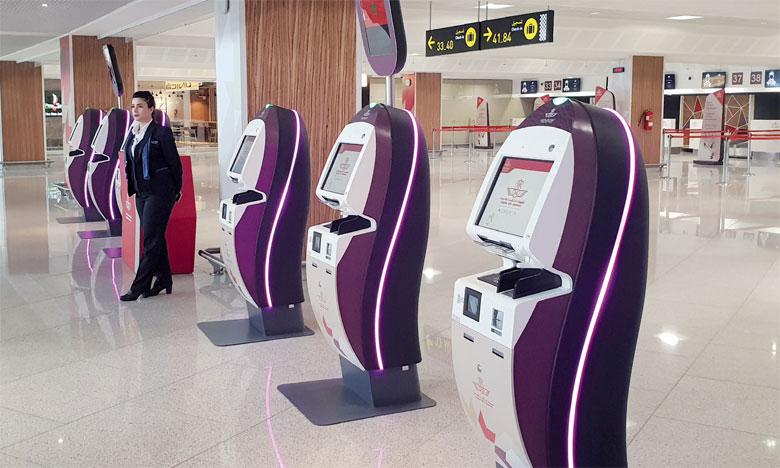 Les kiosques d'enregistrement IER 919 et les unités dédiées aux bagages I820 fournis par IER «se marient parfaitement au design du terminal».ph. A. Hafidi