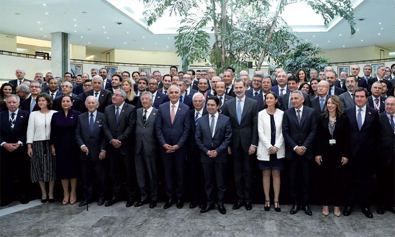 Photo de clôture du Forum économique Maroc-Espagne qui a été marqué par la participation du Souverain espagnol Felipe VI.