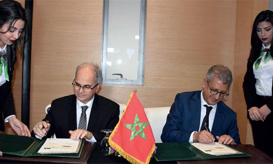 La cérémonie de lancement du timbre-poste édité à l'effigie du Train à grande vitesse a été présidée par le DG de l'ONCF, Mohamed Rabie Khlie, et le DG du Groupe Barid Al-Maghrib, Amin Benjelloun Touimi. Phs. Kartouch