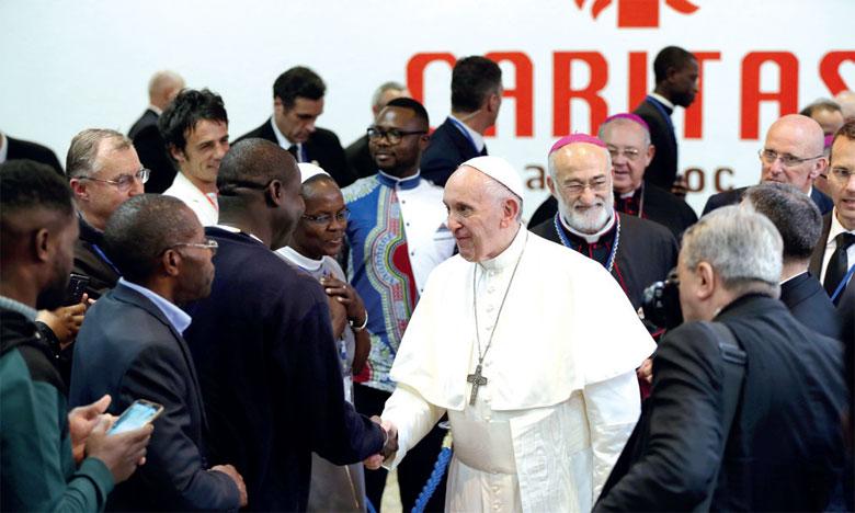Le Pape François rencontre des migrants d'Afrique subsaharienne au siège de Caritas Maroc