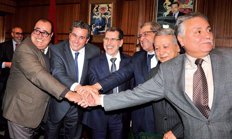 Les chefs des partis de la majorité lors d'une précédente réunion