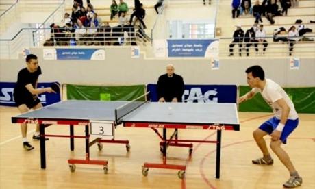 Le cinquième Tournoi national universitaire de tennis de table à  Meknès