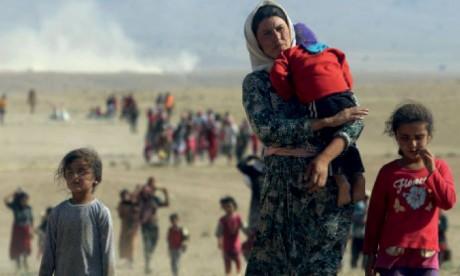 Exhumation d'un  premier charnier dans le bastion des Yézidis