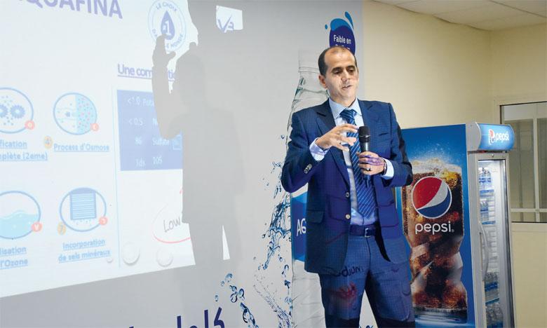 C'est Salahaddine Mouaddib, DG de Varun Beverages Morocco, qui a présenté les perspectives d'Aquafina. Ph. Saouri