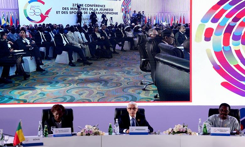 Le ministre de la Jeunesse et des Sports, Rachid Talbi Alami a été désigné, à Marrakech, président de la Confejes pour un mandat de deux ans. Ph : MAP