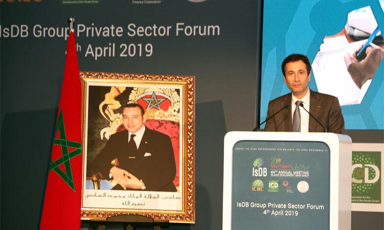 Mohamed Benchaâboun intervenant lors du forum du secteur privé en marge de la 44e réunion annuelle de la BID