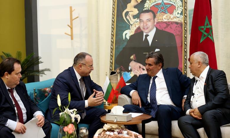 En marge de la 14e édition du Siam, Aziz Akhannouch, s'entretient avec son homologue Bulgare, Rumen Porodzanov. Ph : MAP