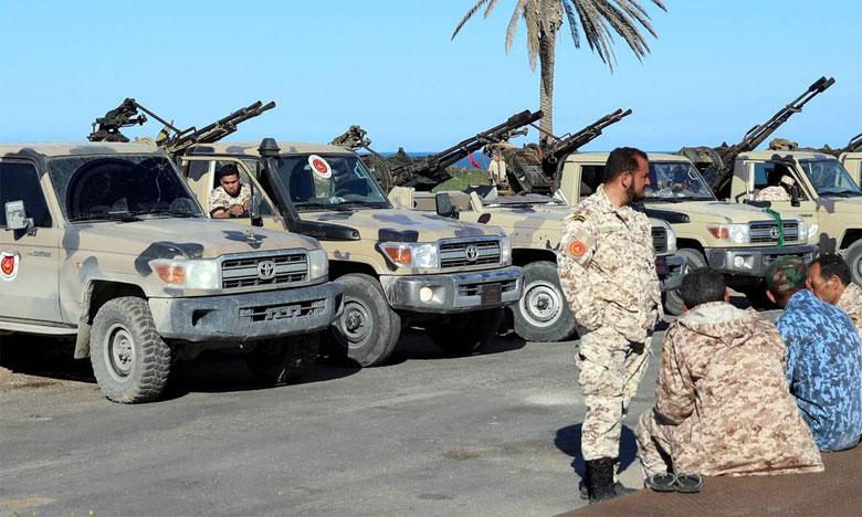 Véhicules militaires des Forces de Tripoli.