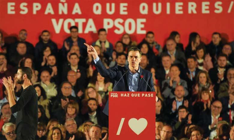 Le PSOE aurait remporté les élections  législatives avec 28% des voix