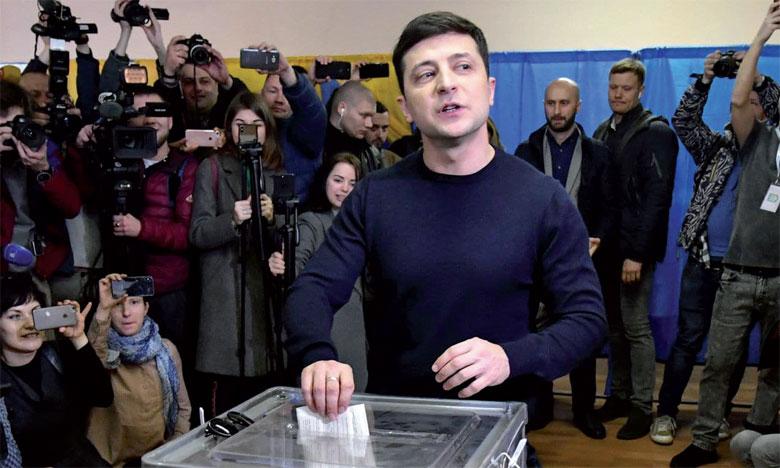 Volodymyr Zelensky a obtenu 30,4% des voix, selon les résultats publiés par la Commission électorale après dépouillement de 74% des bulletins. Ph. AFP