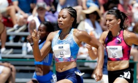 Allyson Felix en demi-finale du 200 mètres aux Championnats des Etats-Unis, à Sacramento en Californie. Ph : AFP