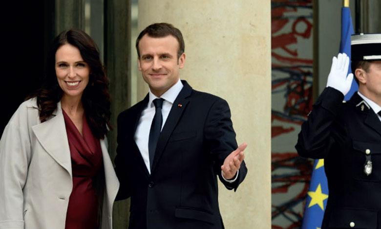 Emmanuel Macron et la Première ministre  néo-zélandaise Jacinda Ardern ont lancé  «l'appel de Christchurch»                                Ph.AFP