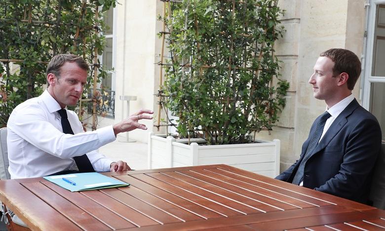 """Marc Zuckerberg et Emmanuel Macron 'étaient déjà rencontrés le 23 mai 2018 au cours de la première édition de """"Tech for Good"""". Ph.  AFP/Archives"""