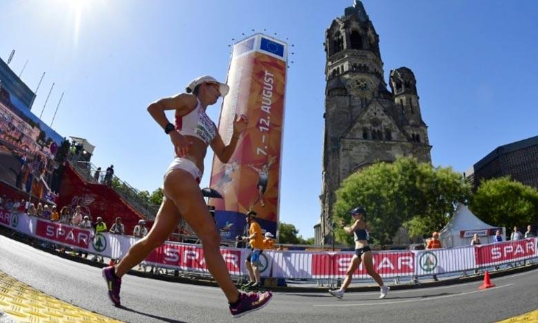 La Portugaise Inès Henriques lors du 50 km marche aux Championnats d'Europe, à Berlin, Le 50 km marche féminin n'est inscrit au programme des compétitions majeures que depuis les Mondiaux de Londres en 2017. Ph : AFP