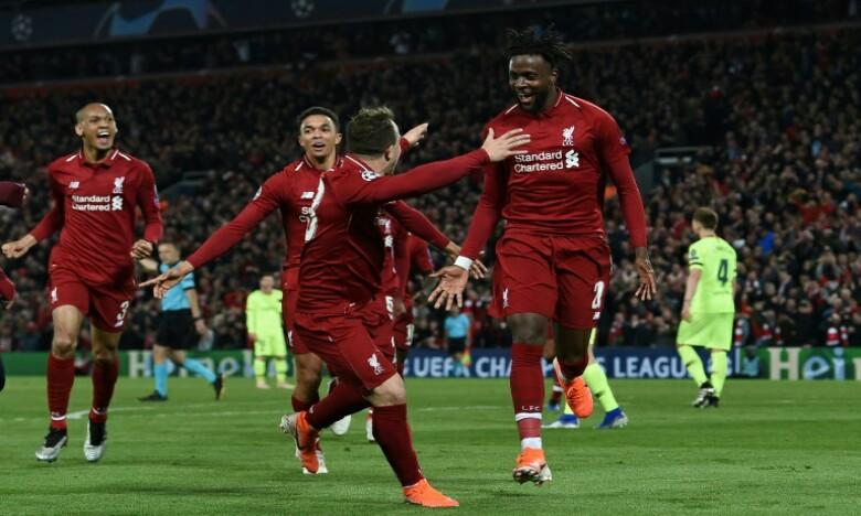 L'attaquant belge Divock Origi (N.27) qualifie Liverpool en marquant le 4e but contre Barcelone à Anfield. Ph : AFP