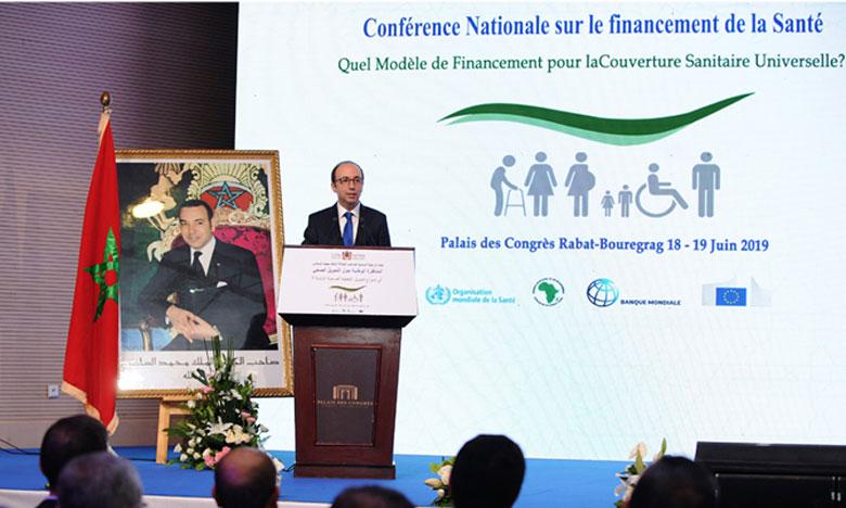 Le ministre de la Santé, Anas Doukkali, s'exprimant, mardi à Salé, lors de l'ouverture de la Conférence nationale sur le financement de la santé organisée par le ministère de la Santé sous le Haut Patronage de Sa Majesté le Roi Mohammed VI sous le thème, «Quel modèle de financement pour la couverture sanitaire universelle ?»
