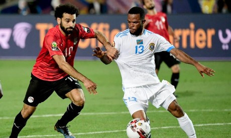 L'Egypte, pays organisateur, s'est qualifiée pour les huitièmes de finale de la Can 2019 (Groupe A), en battant la RD Congo (2-0), en match comptant pour la 2e journée, disputée au stade international du Caire. Ph :  AFP