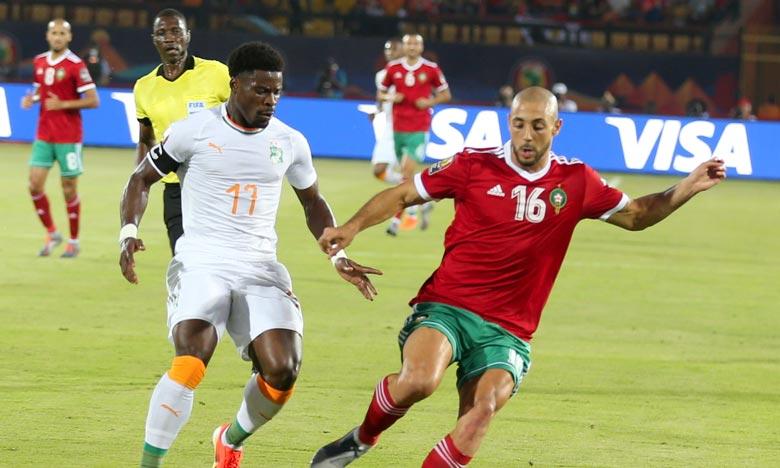 L'attaquant des Lions de l'Atlas, Nordin Amrabat, a exprimé sa satisfaction pour sa désignation meilleur joueur lors de cette rencontre et la qualification du Maroc aux huitièmes de finale de la Can 2019. Ph : MAP