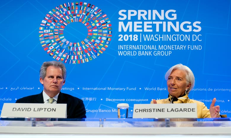 La directrice générale du FMI, Christine Lagarde, nominée pour la présidence de la BCE, David Lipton, a été désigné pour la remplacer provisoirement. Ph : AFP