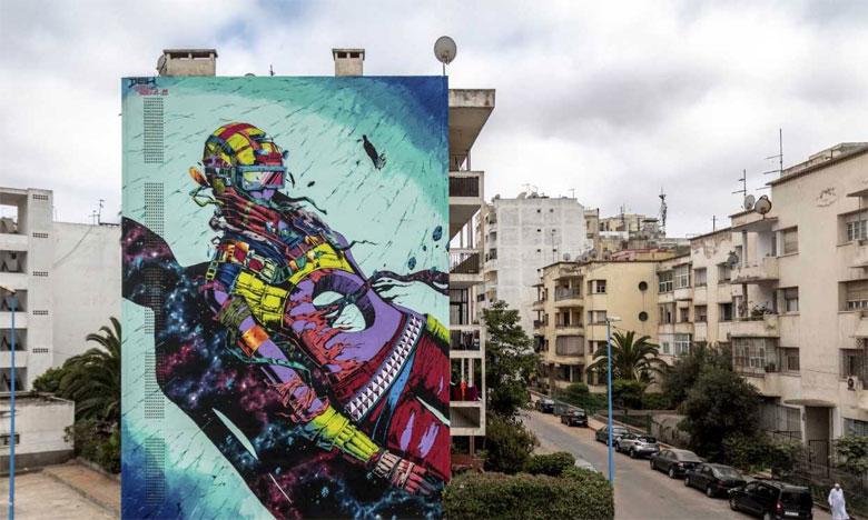 Œuvre de Deih,  à côté de la polyclinique CNSS Ziraoui, Bourgogne. Casablanca