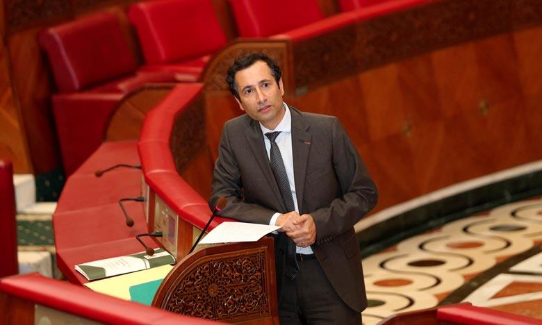 Le ministre de l'Economie et des Finances, Mohamed Benchaâboun, répondant à une question orale à la Chambre des conseillers.Ph : MAP