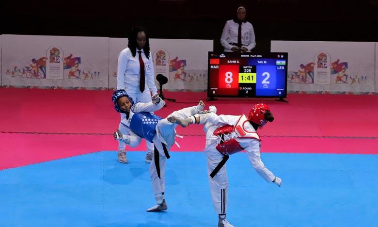 La taekwondoïste marocaine Soukaina Sahib a remporté la médaille après sa victoire en finale face à Tau Michelle du Lesotho sur le score de (10-6). Ph : MAP