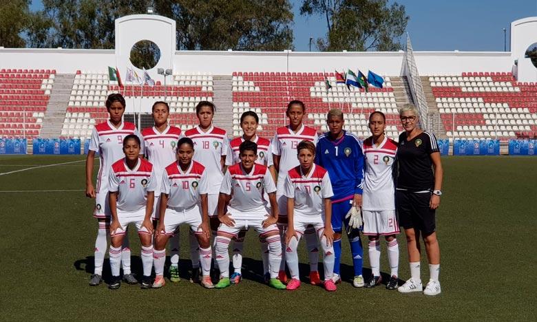 Les deux réalisations des Lionnes de l'Atlas U20 ont été l'œuvre de Salma Stiten (60e) et Sofia Bouftini (61e) offrant les trois points de la victoire au onze national. Ph : frmf.ma