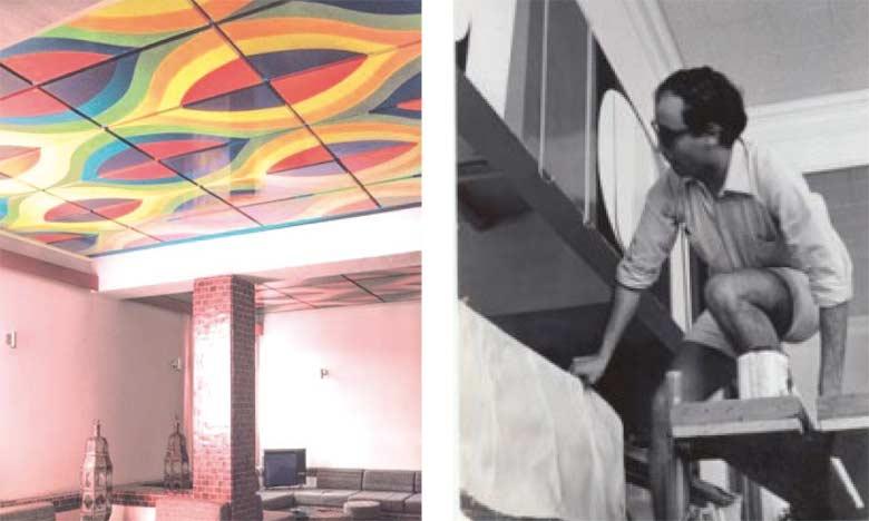 Vue d'une fresque de plafond de Mohamed Melehi. Hôtel Les Roses du Dadès, Kelaa M'Gouna, Grand Sud, Maroc 1971-1972. Studio Faraoui et De Mazières.  Archives Patrice de Mazière