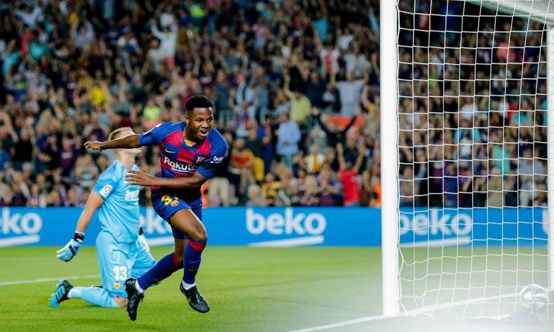 Ansu Fati est devenu le plus jeune joueur à inscrire un but pour la Barça en Liga. Ph :  AFP
