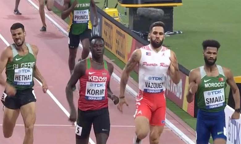 Mostafa Smaïli (à droite) a terminé cinquième en demi finale du 800 m hommes.