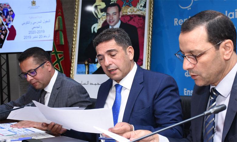Saaïd Amzazi s'exprimant vendredi lors d'une conférence de presse consacrée à la présentation des nouveautés  de la rentrée scolaire. Ph. Saouri