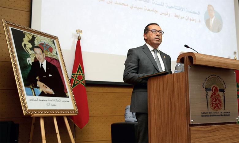 Le président de l'USMBA, Redouane El Morabit, lors de la cérémonie à l'occasion de l'ouverture  de l'année universitaire 2019-2020.